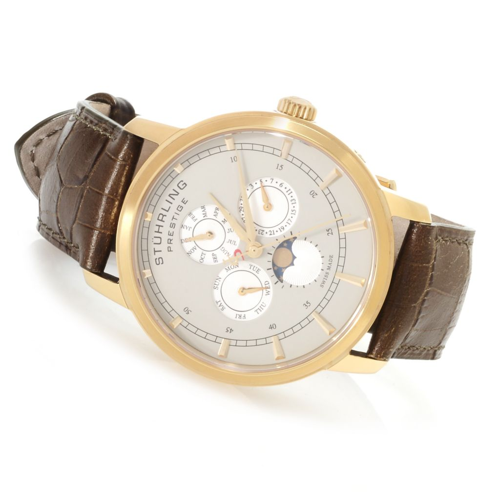 625-421 - Stührling Prestige Men's Maestro Swiss Made Quartz Multi Function Leather Strap Watch