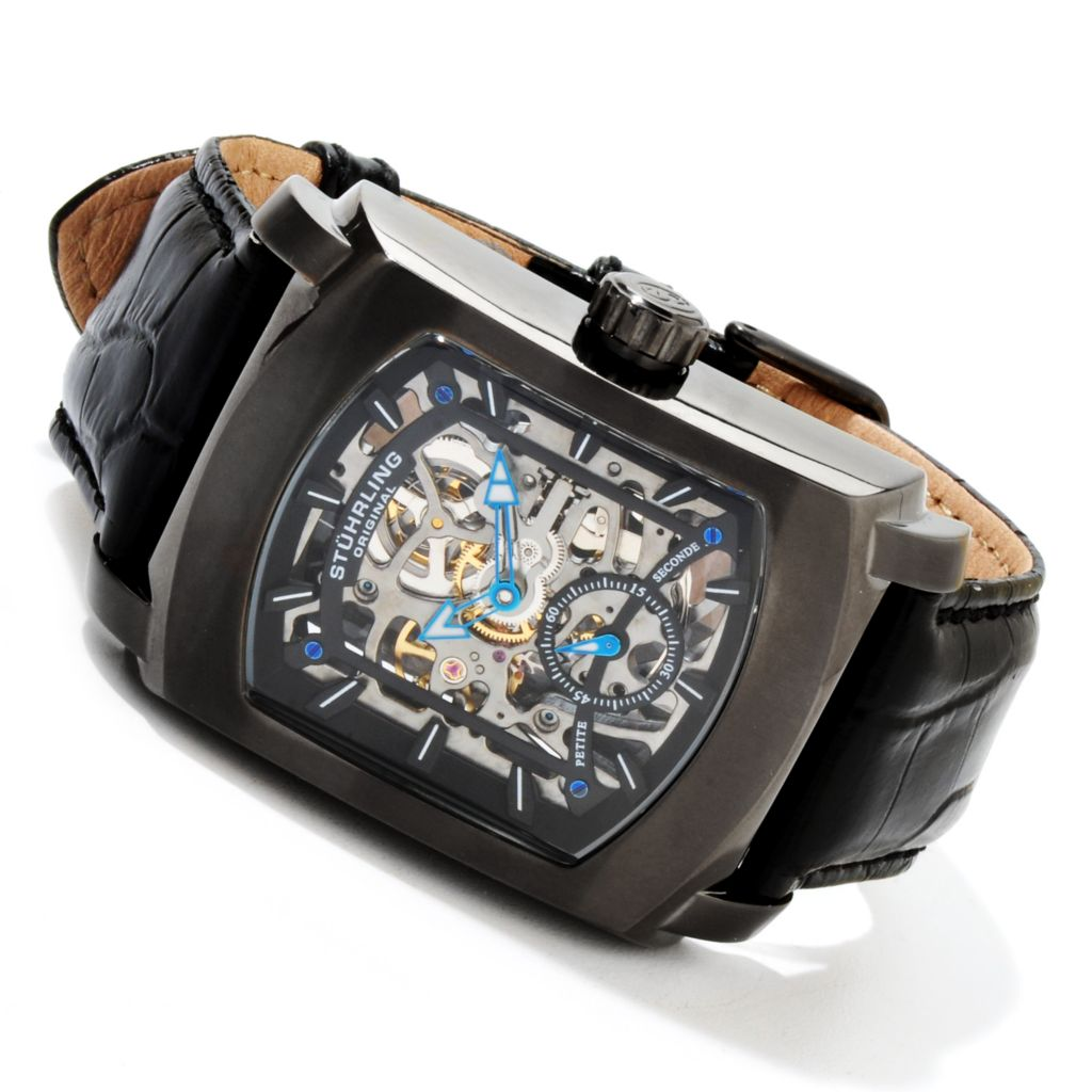 625-424 - Stührling Original Rectangular Midtown Banker Mechanical Skeleton Leather Strap Watch