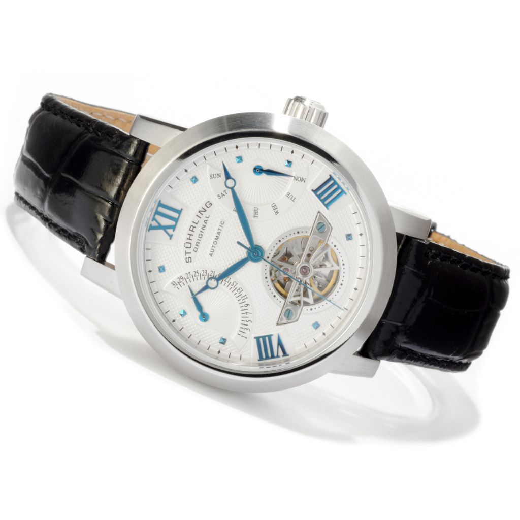 625-425 - Stuhrling Original Men's Saturn Spirit Automatic Stainless Steel Leather Strap Watch