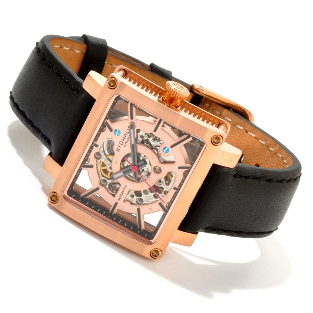 625-426 - Stührling Original Women's Axis Girl Automatic Skeletonized Dial Leather Strap Watch