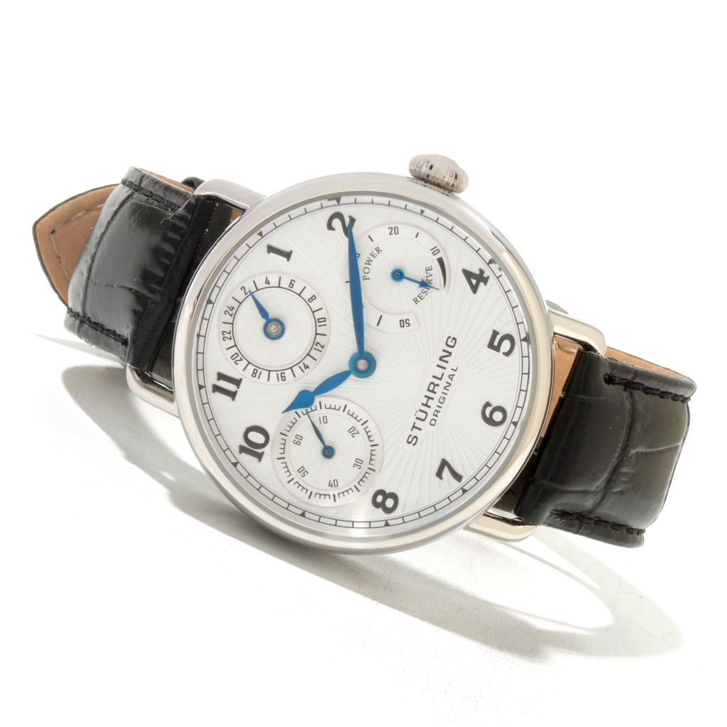 625-427 - Stührling Original Men's Coronate Mechanical Leather Strap Watch