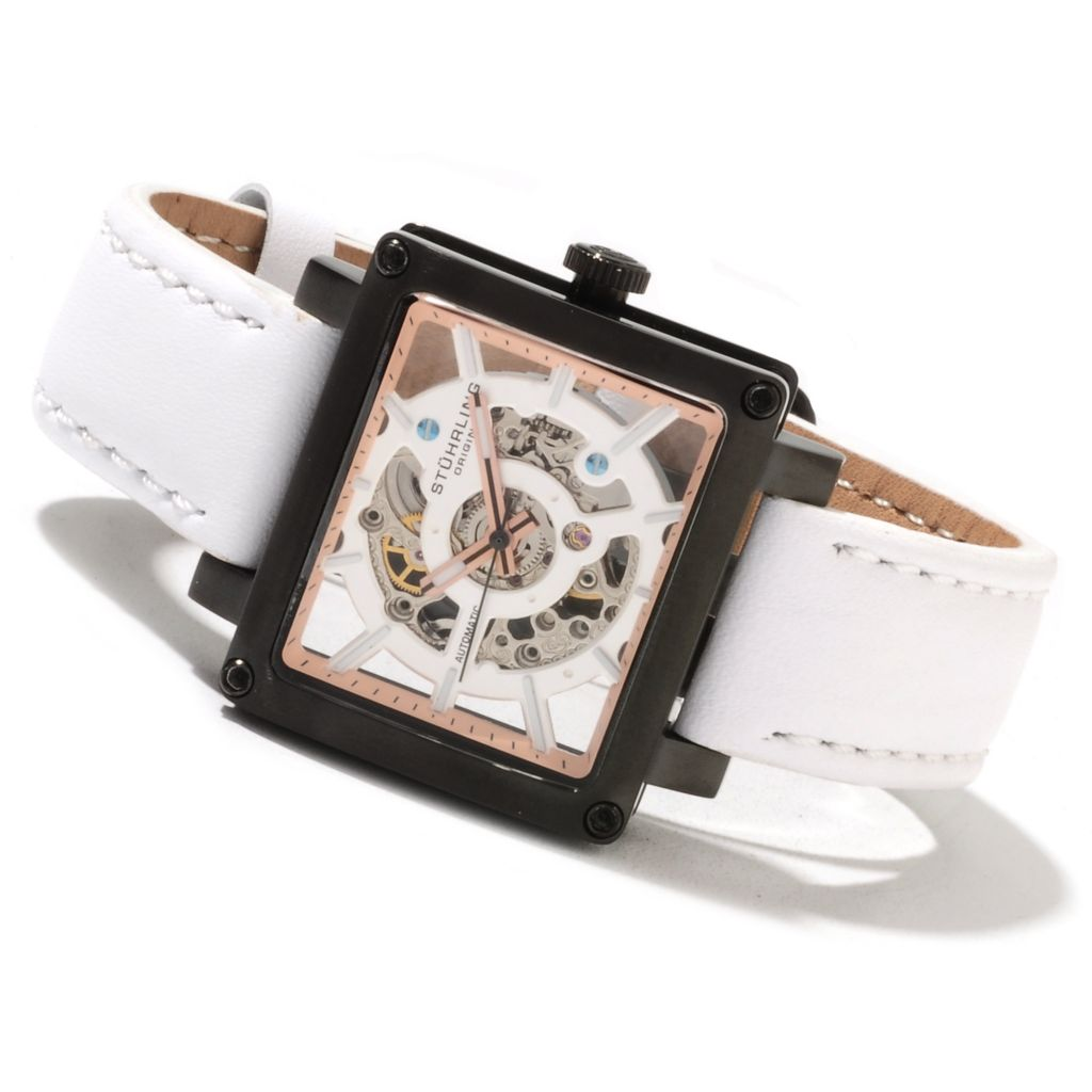 625-428 - Stührling Original Women's Axis Girl Automatic Skeletonized Leather Strap Watch