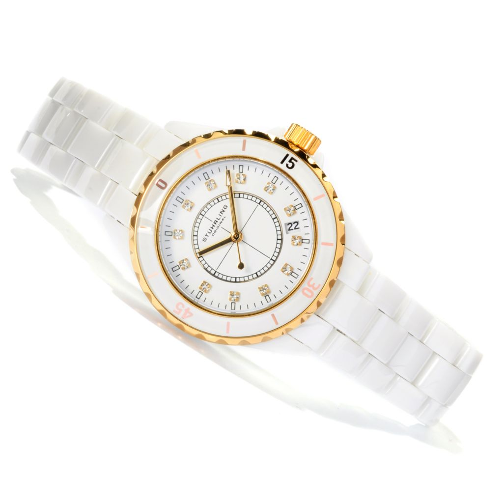 625-429 - Stührling Original 39mm Purity Quartz Ceramic Watch Made w/ Swarovski® Elements