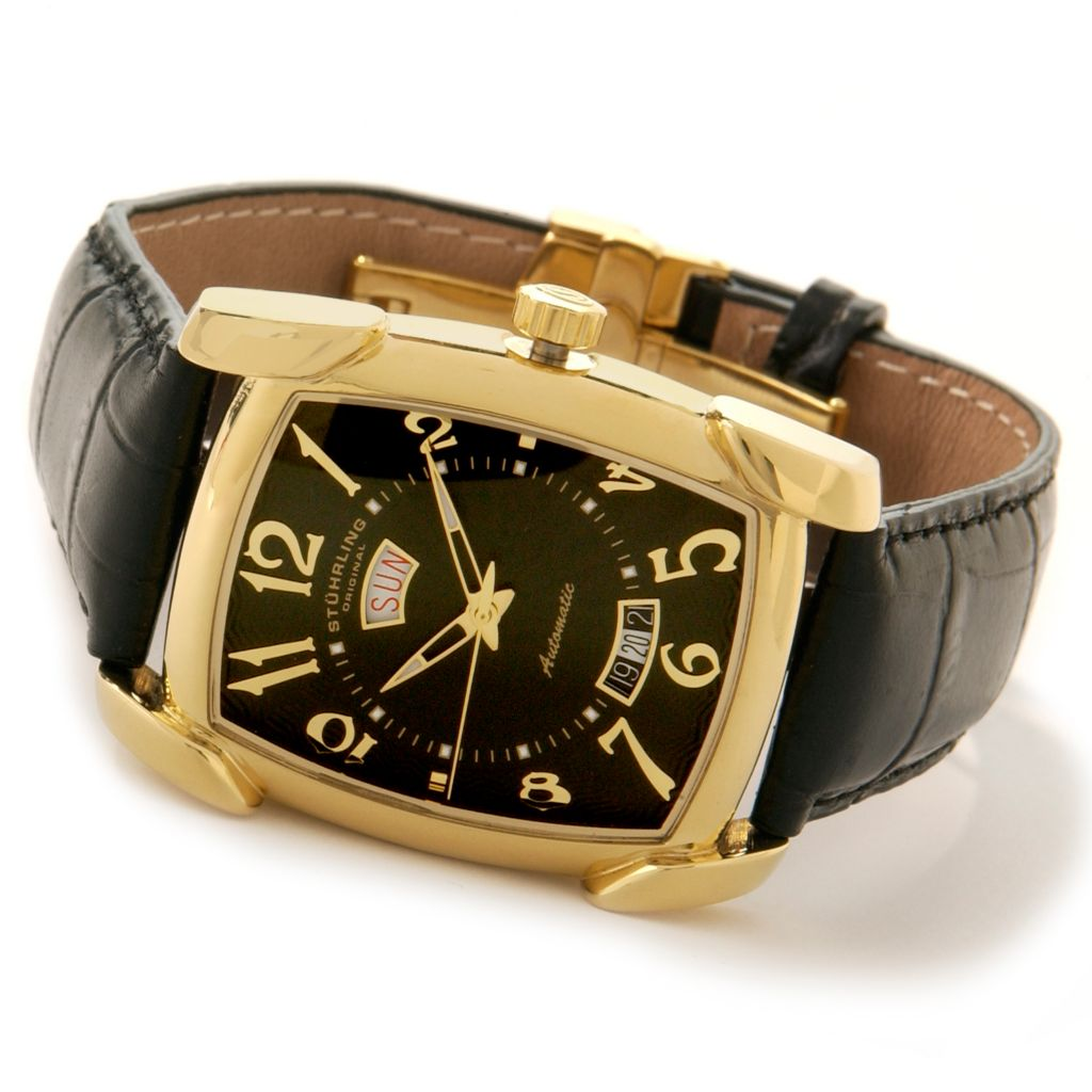 625-431 - Stührling Original Rectangular Madison Avenue Date Leather Strap Watch