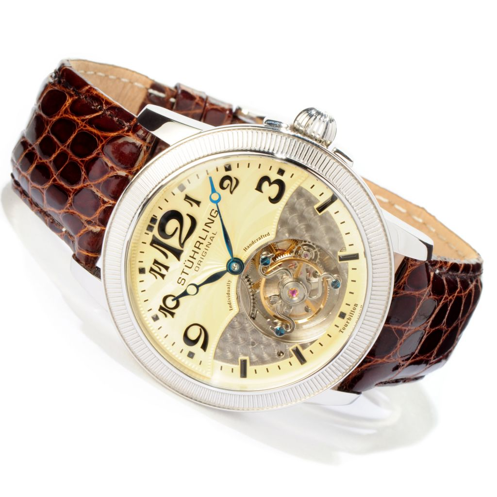 625-432 - Stührling Original Men's Destiny Tourbillon Mechanical Crocodile Strap Watch