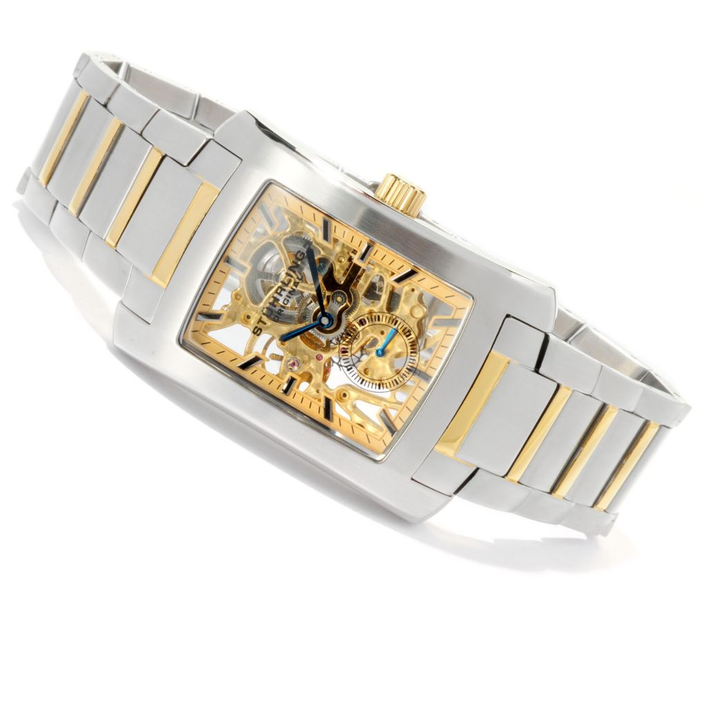 625-433 - Stührling Original Rectangular Gatsby Elite Mechanical Stainless Steel Bracelet Watch