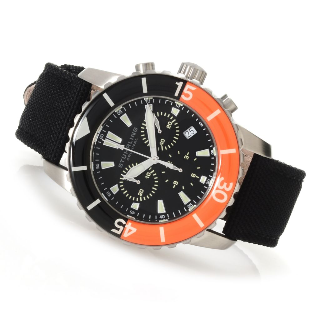 625-434 - Stührling Original 44mm Felucca Aquadiver Quartz Chronograph Stainless Steel Nylon Strap Watch