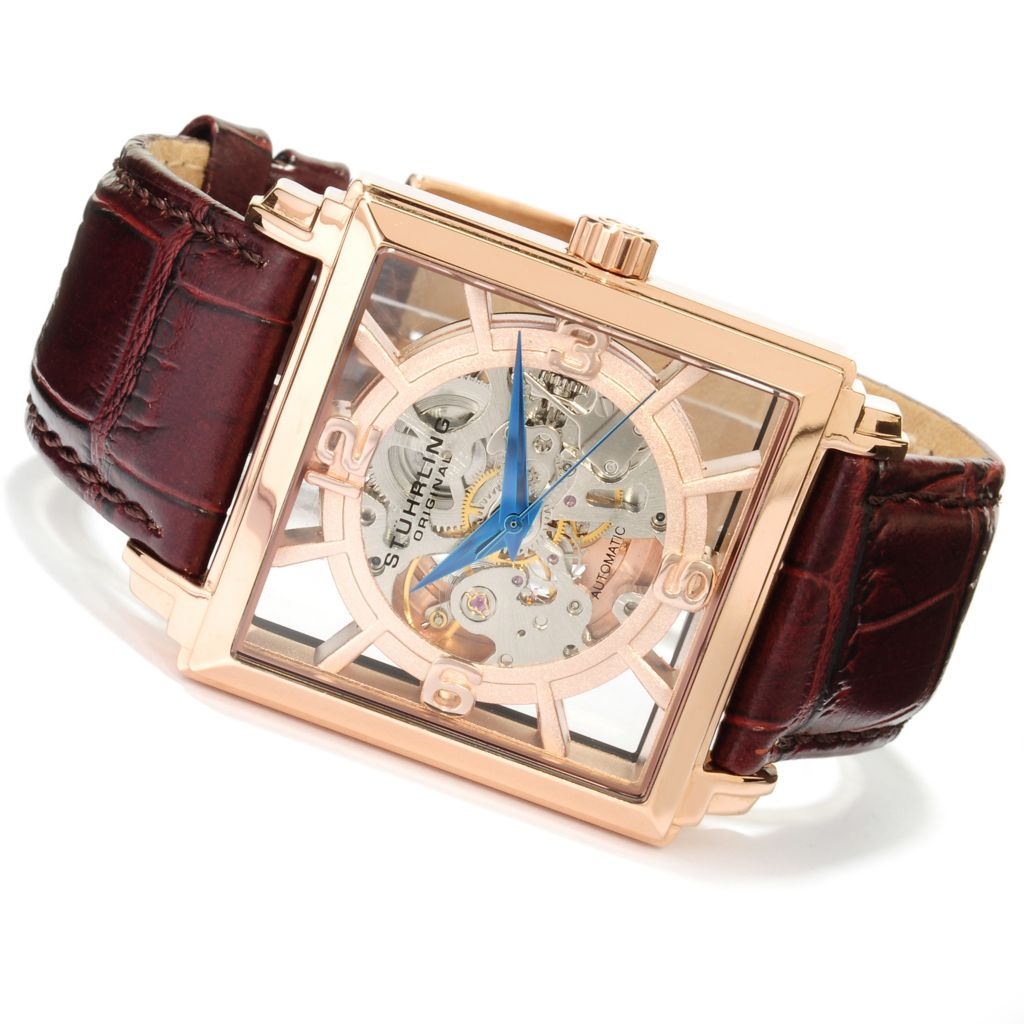 625-435 - Stührling Original Men's Winchester Plaza Automatic Skeletonized Dial Leather Strap Watch
