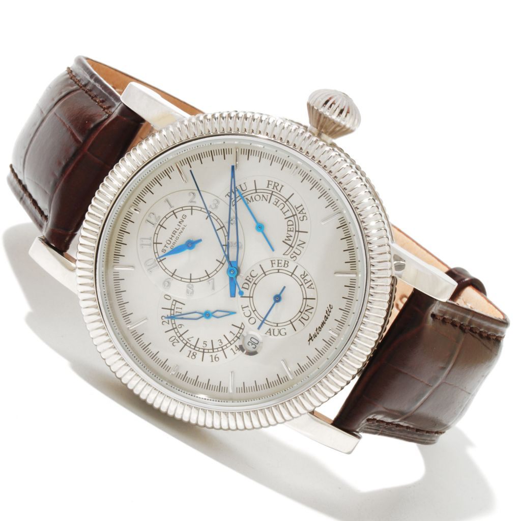 625-439 - Stührling Original 44mm Timemaster Symphony Automatic Stainless Steel Leather Strap Watch