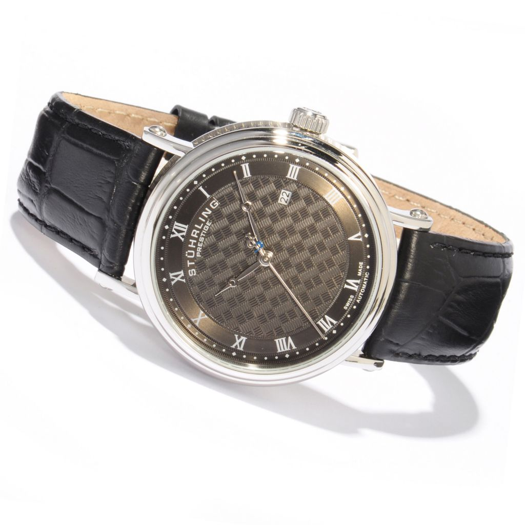 625-440 - Stührling Prestige 42mm Tradition Swiss Made Automatic Leather Strap Watch