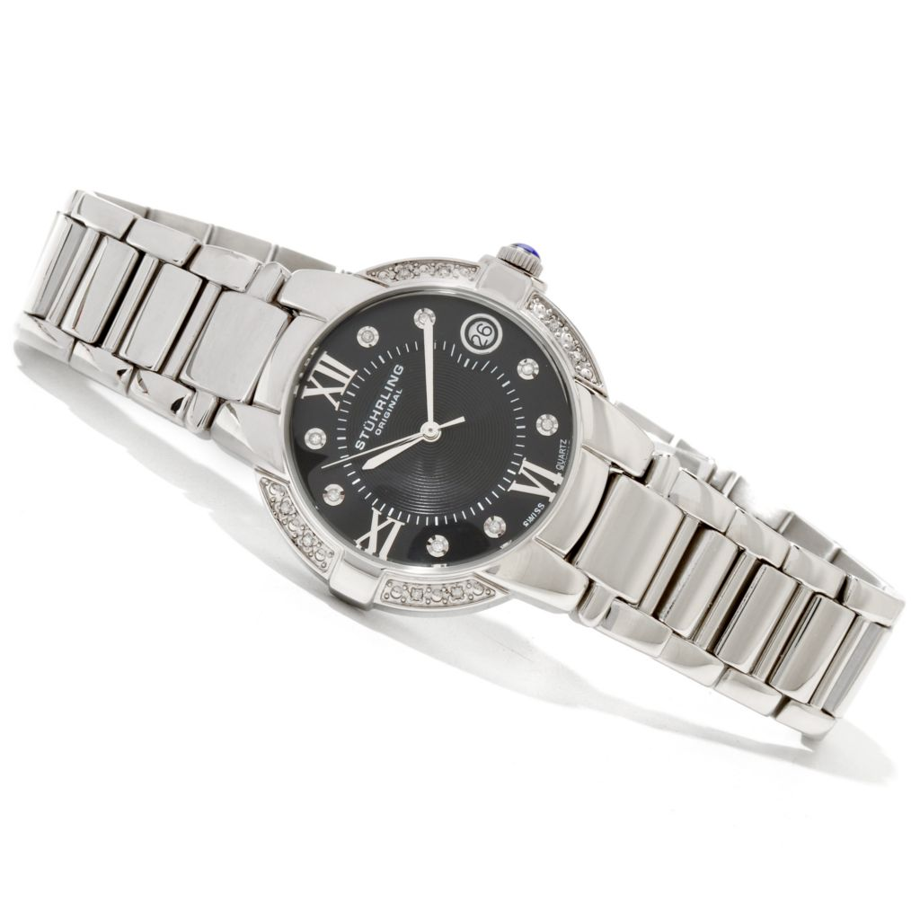 625-441 - Stührling Original Women's Countess Elite Quartz Diamond Accented Bracelet Watch