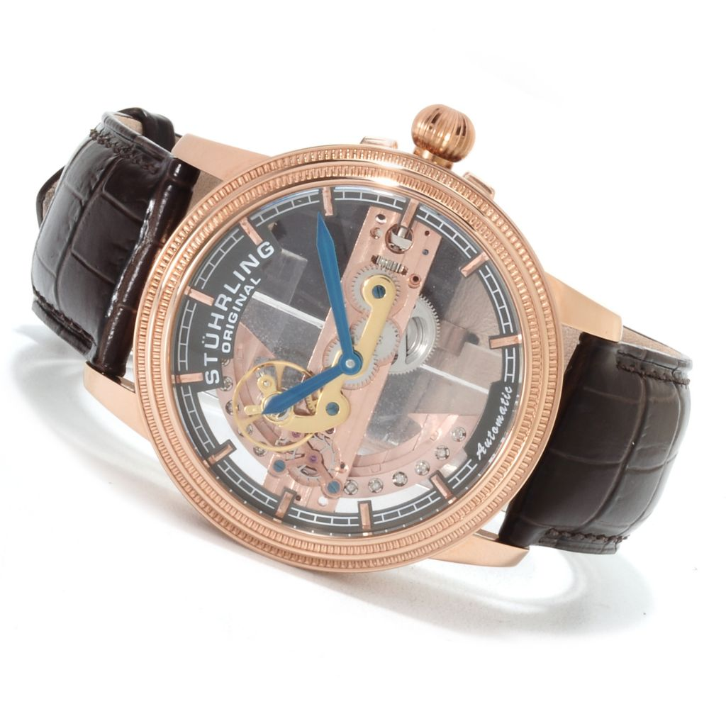 625-443 - Stührling Original Men's Symphony Limited Edition Bridge Automatic Skeletonized Strap Watch