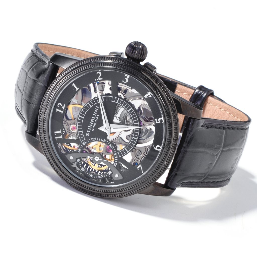 625-444 - Stührling Original 45mm Brumalia Mechanical Skeletonized Leather Strap Watch