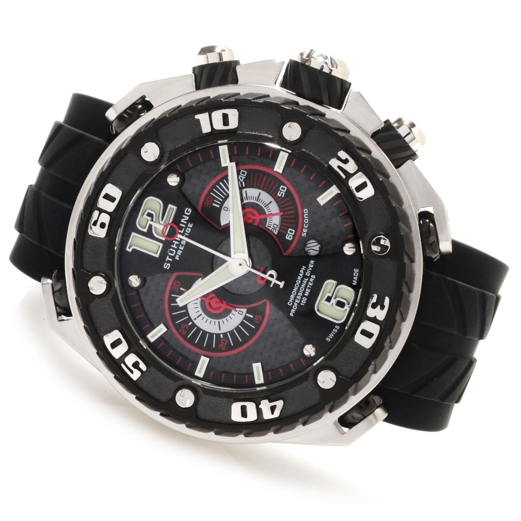 625-452 - Stührling Prestige 57mm Maverick Swiss Made Quartz Chronograph Rubber Strap Watch