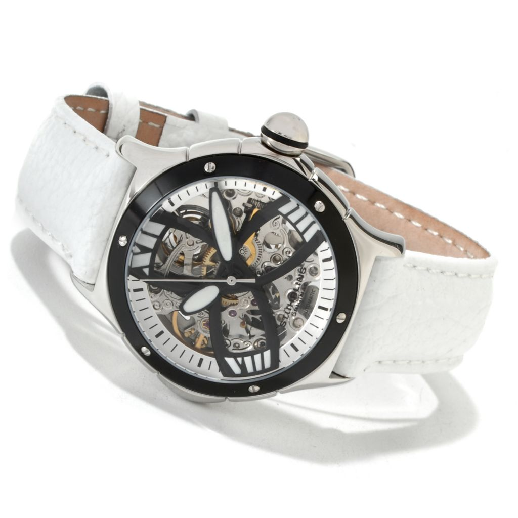 625-465 - Stührling Original Women's Classic Alpine Girl Skeleton Automatic Leather Strap Watch