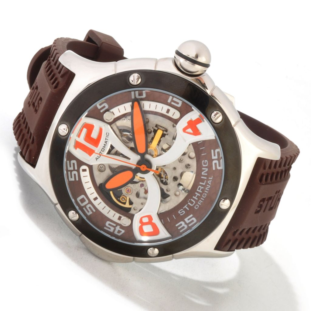 625-469 - Stührling Original Men's Alpine Xtreme Automatic Rubber Strap Watch