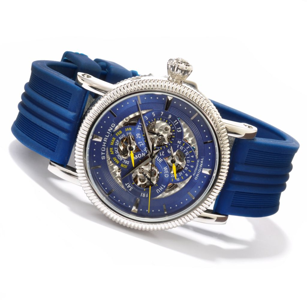 625-476 - Stührling Original 46mm Symphony Maestro III Skeleton Automatic Rubber Strap Watch