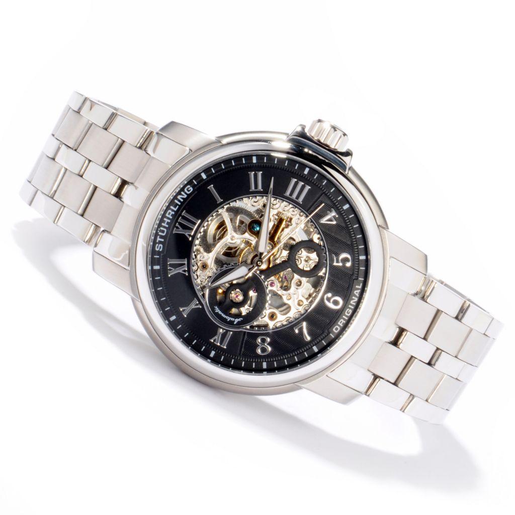 625-480 - Stührling Original 47mm King Lear Skeleton Automatic Stainless Steel Bracelet Watch