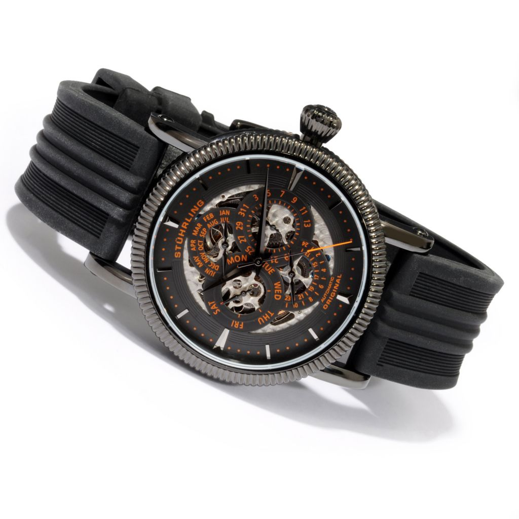 625-481 - Stührling Original 46mm Symphony Maestro III Skeleton Automatic Black Case Rubber Strap Watch