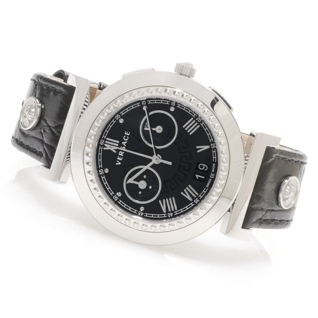 625-486 - Versace Women's Vanity Chronograph Swiss Made Quartz Stainless Steel Leather Strap Watch