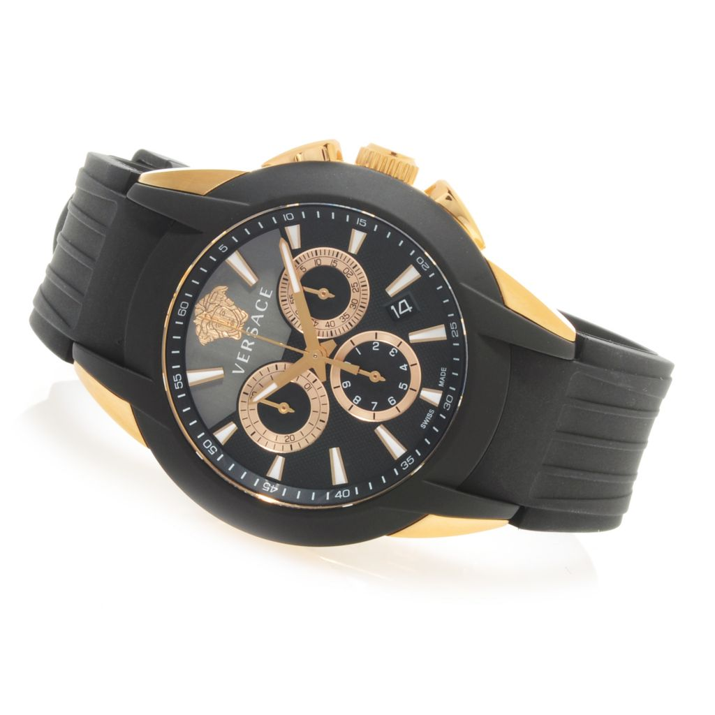 625-488 - Versace Men's Chronograph Swiss Made Quartz Stainless Steel Rubber Strap Watch