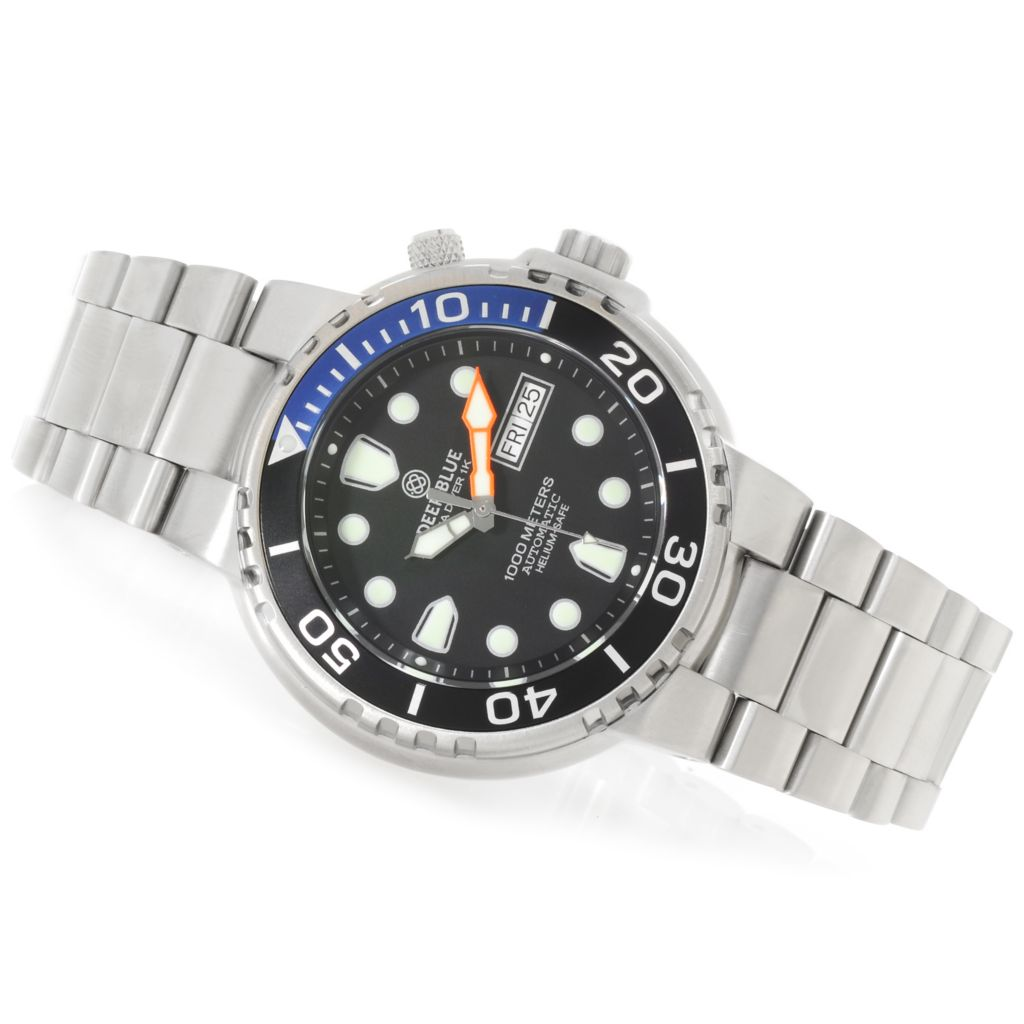 625-520 - Deep Blue Men's Sea Diver Day/Date Automatic Stainless Steel Bracelet Watch