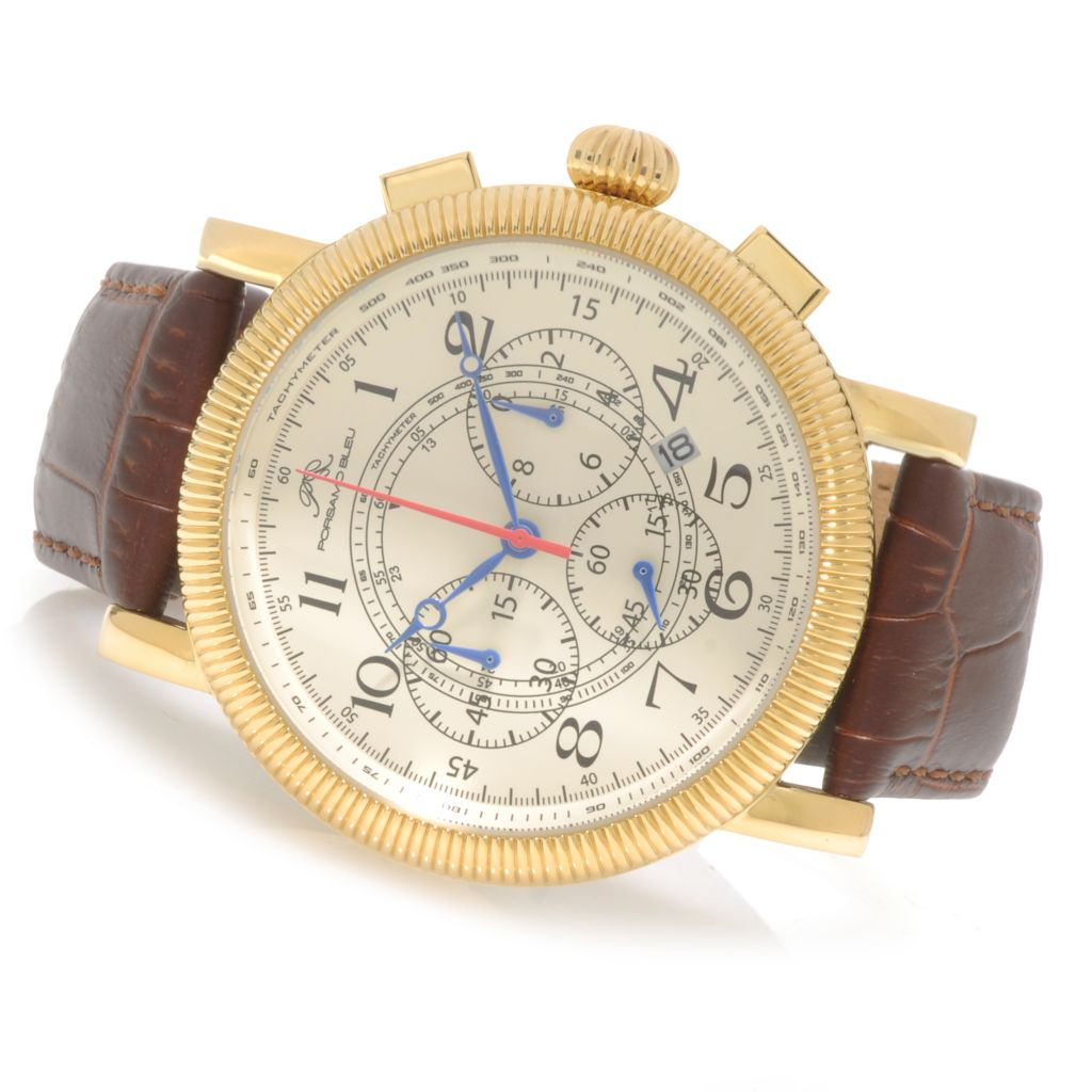 625-523 - Porsamo Bleu 48mm Phileas Quartz Chronograph Leather Strap Watch