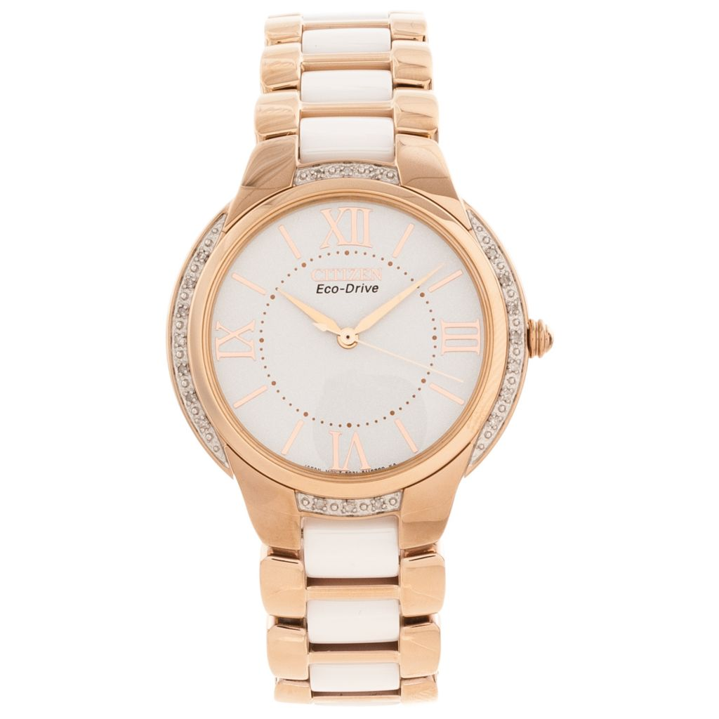 625-562 - Citizen Women's Eco-Drive Ciena Diamond Accented Stainless Steel & Ceramic Bracelet Watch