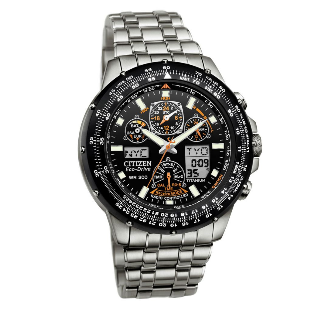 625-572 - Citizen Men's Eco-Drive Skyhawk A-T Quartz Chronograph Titanium Bracelet Watch