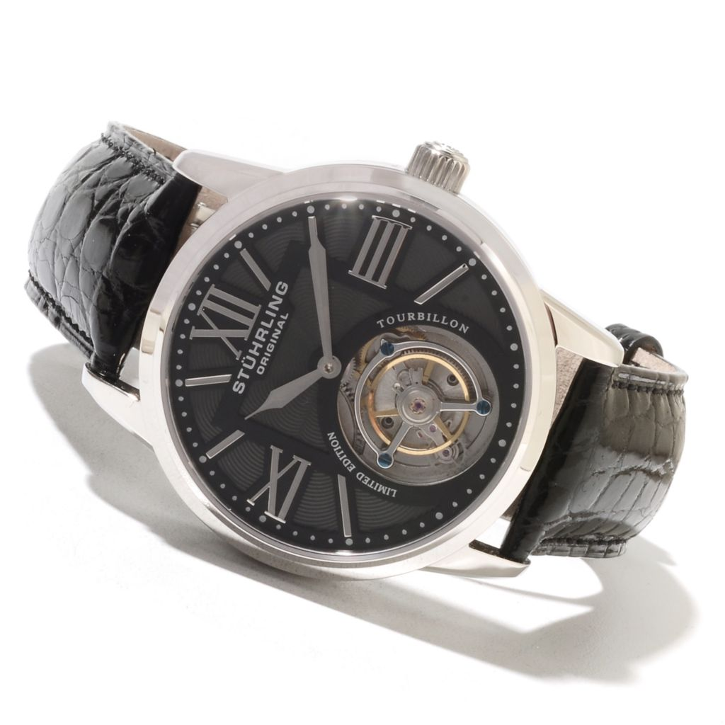 625-588 - Stührling Original Men's Grand Imperium Limited Edition Mechanical Tourbillon Strap Watch