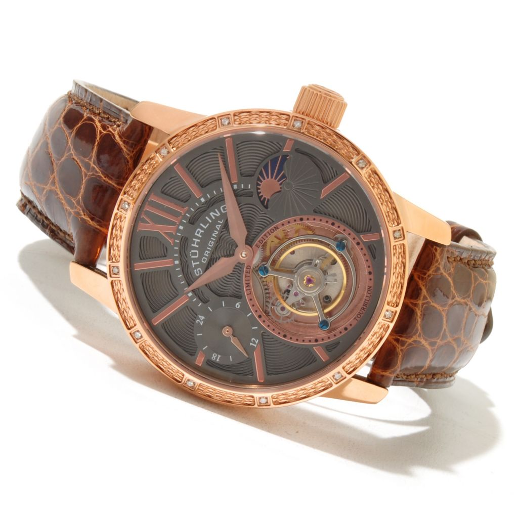 625-589 - Stührling Original Men's Diamond Imperium Limited Edition Mechanical Tourbillon Alligator Strap