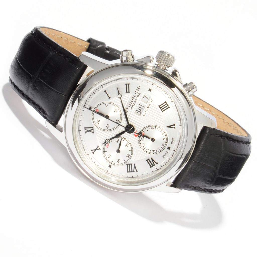 625-590 - Stührling Prestige Men's Accolade Swiss Made Automatic Valjoux 7750 Chronograph Strap Watch