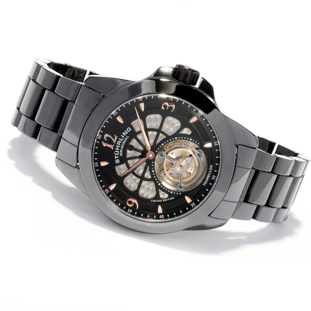 625-591 - Stührling Original 47mm Specter Limited Edition Mechanical Tourbillon Ceramic Bracelet Watch