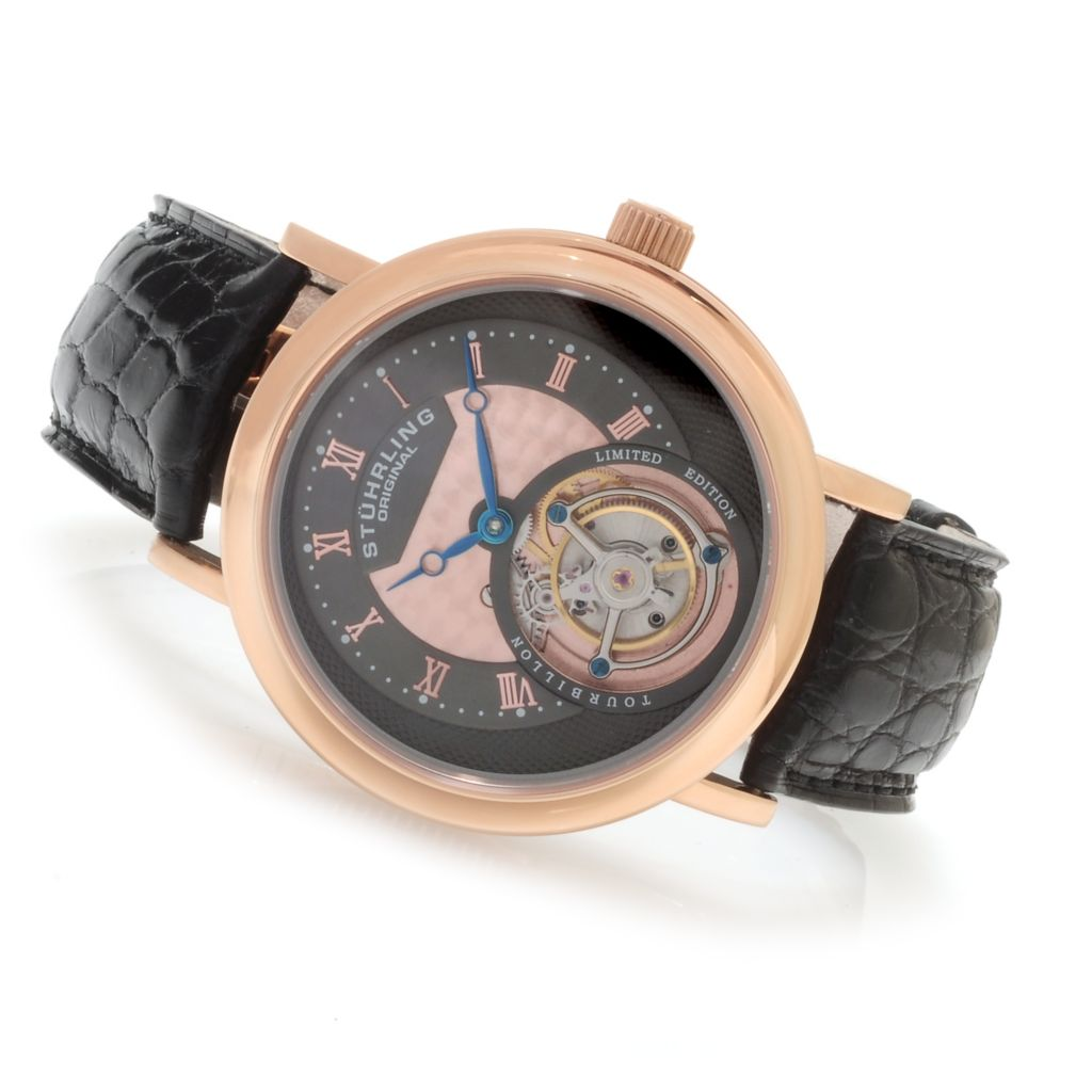 625-597 - Stührling Original Men's Circulaire Limited Edition Mechanical Tourbillon Alligator Strap Watch