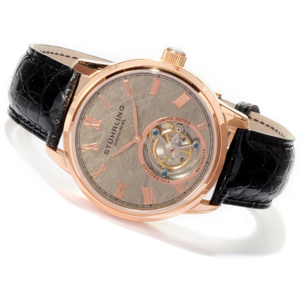 625-604 - Stührling Original 44mm Limited Edition Mechanical Tourbillon Meteorite Alligator Strap Watch