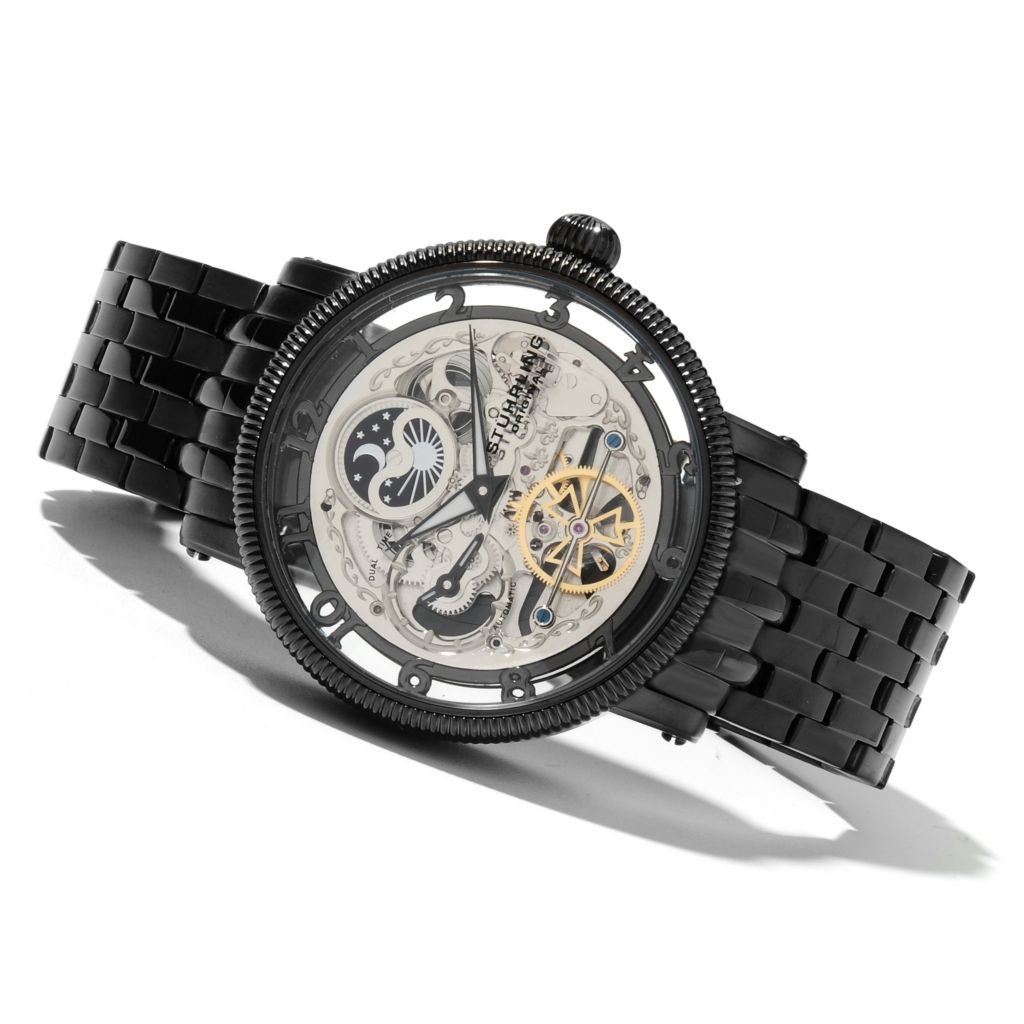625-616 - Stührling Original Men's Tempest Elite Automatic Dual Time Stainless Steel Bracelet Watch