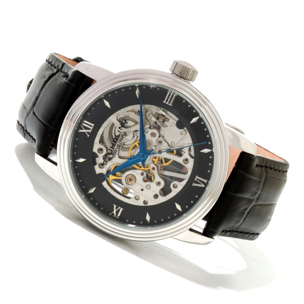 625-620 - Stührling Original Men's Delphi Vienna Mechanical Leather Strap Watch