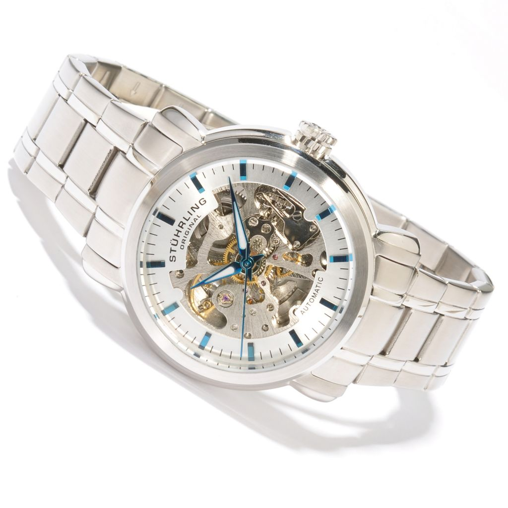 625-623 - Stührling Original Men's Delphi Automatic Skeletonized Stainless Steel Bracelet Watch