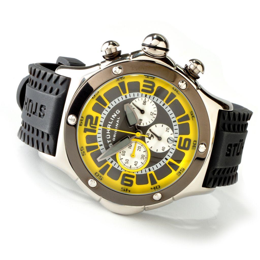625-627 - Stührling Original 52mm Alpine Sports Quartz Chronograph Rubber Strap Watch