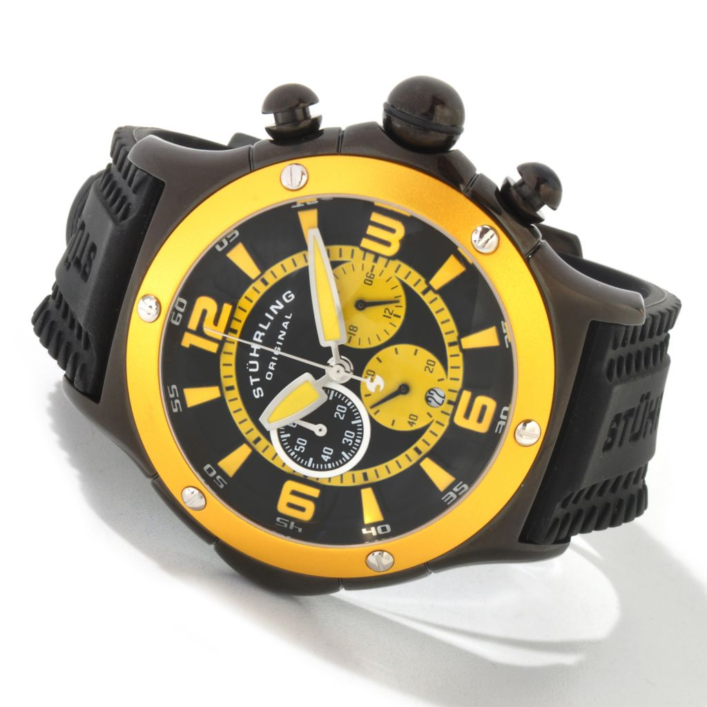 625-629 - Stührling Original Men's Alpine Sports Quartz Chronograph Rubber Strap Watch