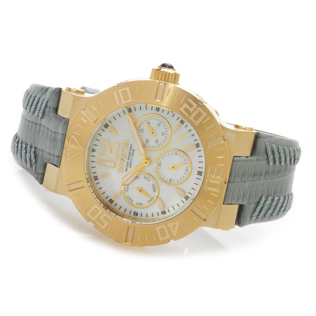625-634 - Invicta Women's Ocean Reef Quartz Mother-of-Pearl Leather Strap Watch