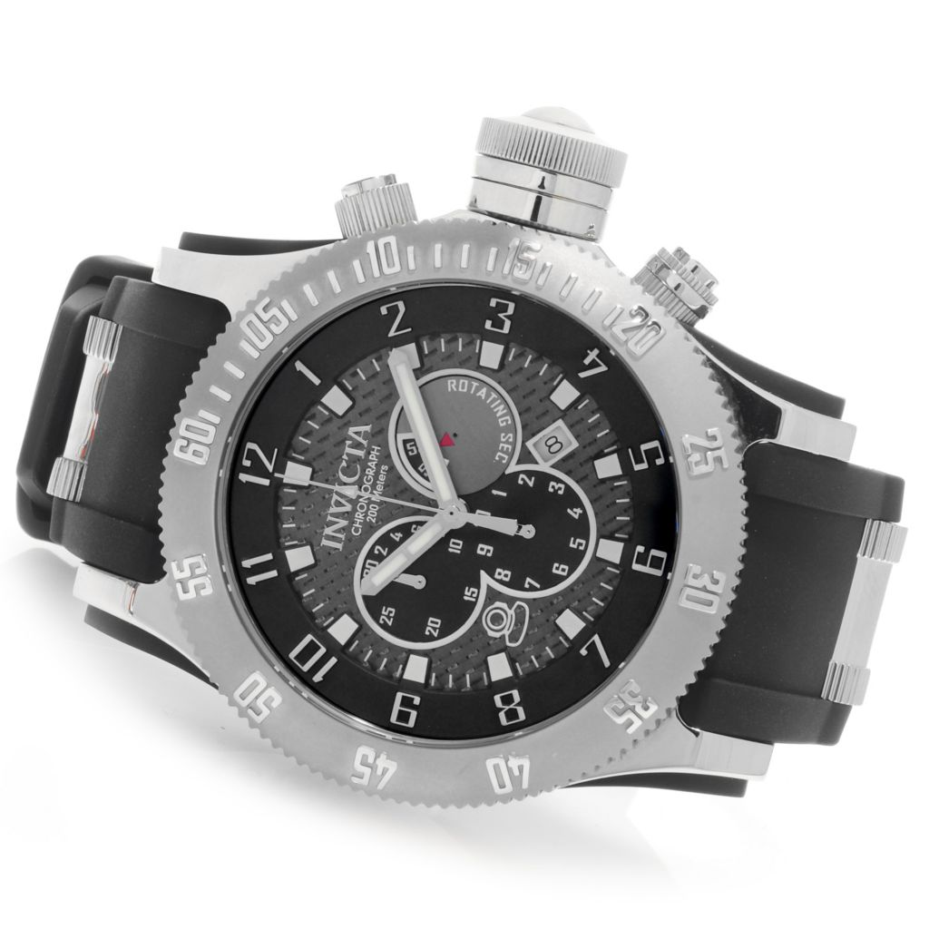 625-641 - Invicta Men's Russian Diver Quartz Chronograph Stainless Steel Case Polyurethane Strap Watch