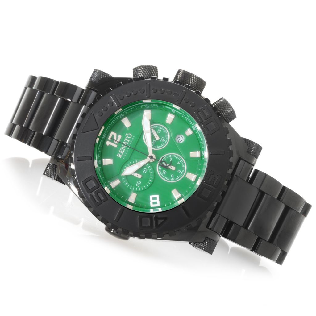 625-649 - Renato Men's Emporium Swiss Quartz Chronograph Black Stainless Steel Bracelet Watch