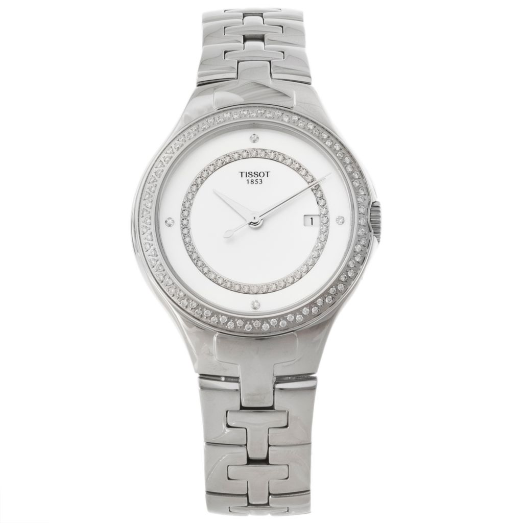625-677 - Tissot Women's T-12 Swiss Made Quartz Diamond Accent Stainless Steel Bracelet Watch