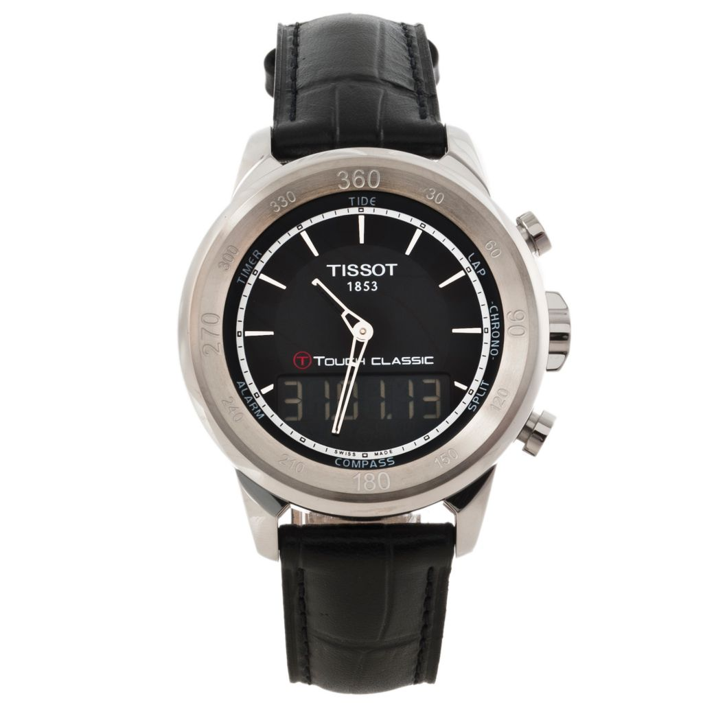 625-681 - Tissot Men's T-Touch Classic Swiss Made Electronic LCD Ana-Digi Leather Strap Watch