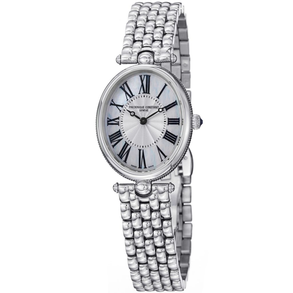 625-684 - Frederique Constant Woman's Art Deco Quartz Mother-of-Pearl Dial Stainless Steel Bracelet Watch