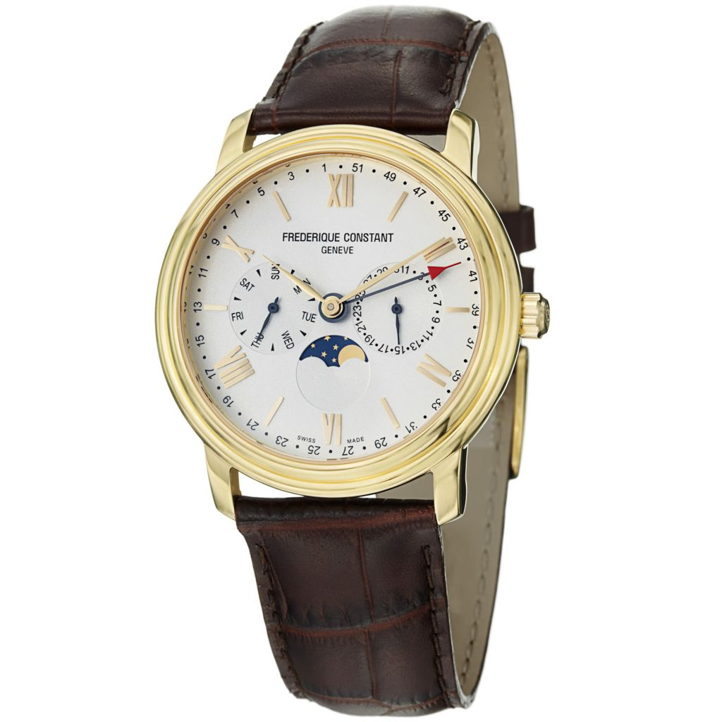 625-686 - Frederique Constant 40mm Business Timer Quartz Leather Strap Watch