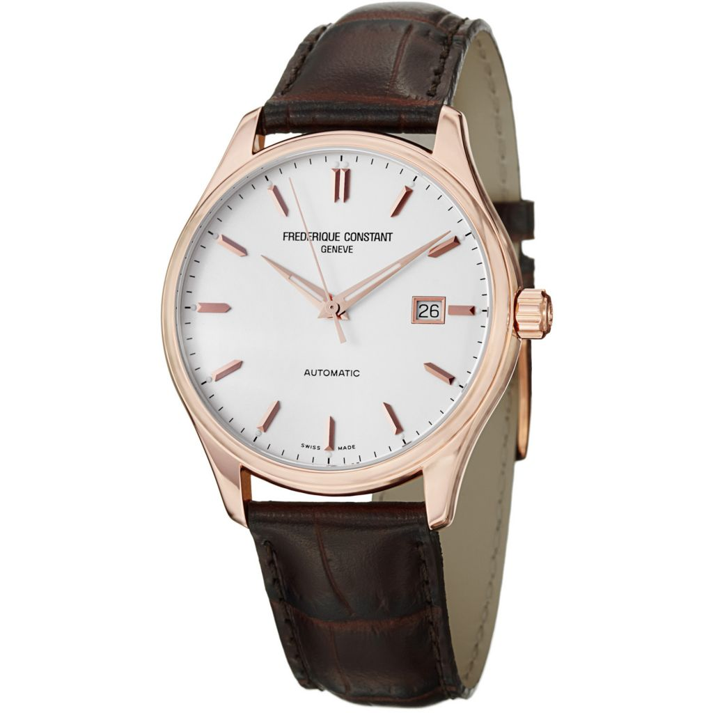 625-688 - Frederique Constant 40mm Index Automatic Croco-Calfskin Leather Strap Watch