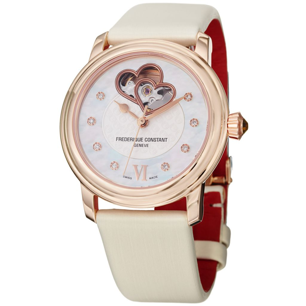 625-691 - Frederique Constant Women's World Heart Federation Satin & Leather Strap Watch