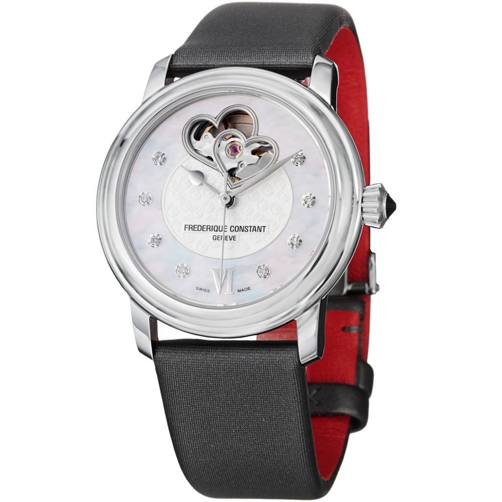 625-692 - Frederique Constant Women's World Heart Federation Satin & Leather Strap Watch
